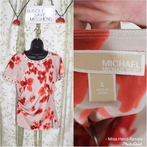 MICHAEL MICHAEL KORS RED CREAM FLORAL STUD BLOUSE